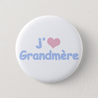 "Badge Rond 5 Cm Je ""coeur"" Grandmère"