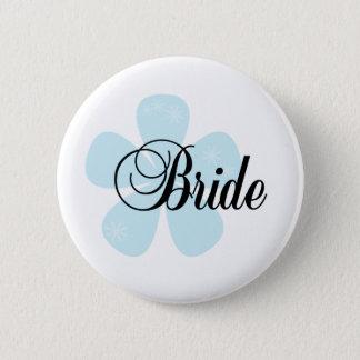 Badge Rond 5 Cm Jeune mariée bleue de fleur