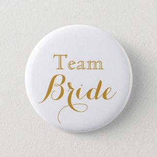 Badge Rond 5 Cm jeune mariée d'équipe de mariage d'or blanc