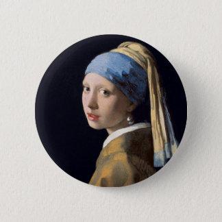 Badge Rond 5 Cm Johannes Vermeer - fille avec une boucle d'oreille