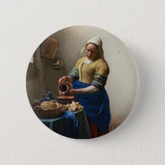 Badge Rond 5 Cm Johannes Vermeer - la peinture de trayeuse