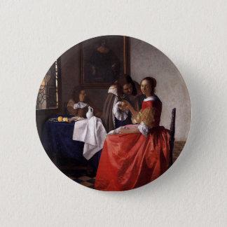 Badge Rond 5 Cm Johannes Vermeer - Madame et deux messieurs