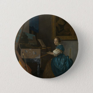 Badge Rond 5 Cm Johannes Vermeer - Madame Seated à une vierge