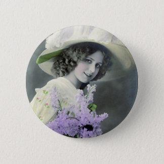 """Badge Rond 5 Cm """"Jolie fille avec"""" le cru lilas"""