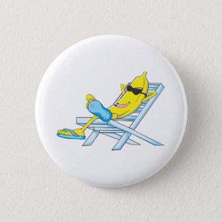 Badge Rond 5 Cm La banane jaune détendent se reposent sur la