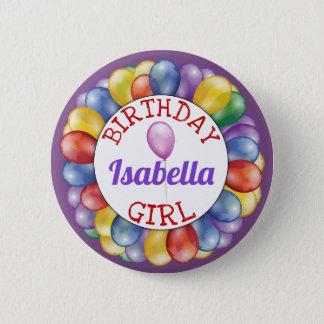 Badge Rond 5 Cm La fille d'anniversaire monte en ballon le jaune