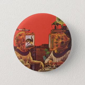 Badge Rond 5 Cm La science-fiction vintage, casques étrangers de