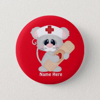 Badge Rond 5 Cm La souris d'infirmière de bande dessinée ajoutent