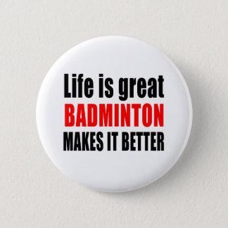 BADGE ROND 5 CM LA VIE EST GRAND BADMINTON LE REND MEILLEUR