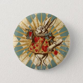 Badge Rond 5 Cm Lapin vintage de blanc d'Alice