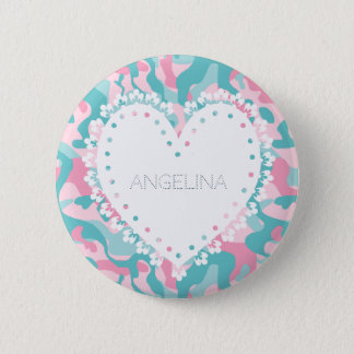 Badge Rond 5 Cm Le camouflage Girly de ressort personnalisent