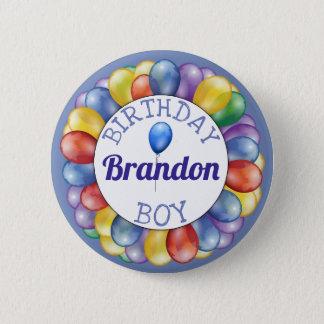 Badge Rond 5 Cm Le garçon d'anniversaire monte en ballon le vert