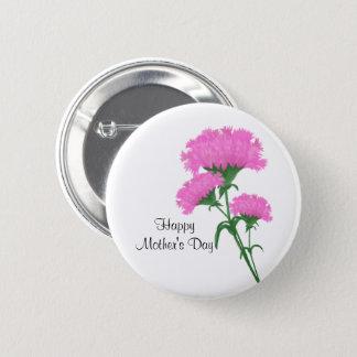 """Badge Rond 5 Cm """"Le jour de mère heureux"""" trois oeillets roses"""