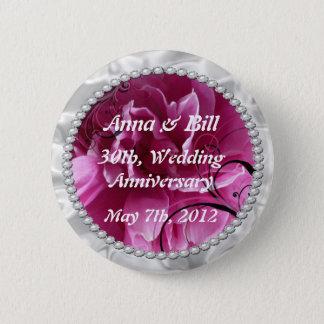 Badge Rond 5 Cm Les perles et les remous floraux de rose sauvent
