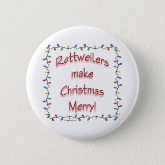 Badge Rond 5 Cm Les rottweilers rendent Noël joyeux - bouton