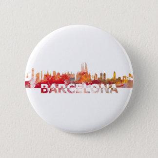 Badge Rond 5 Cm Lettres de géant de silhouette d'horizon de