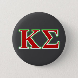 Badge Rond 5 Cm Lettres rouges et vertes de sigma de Kappa