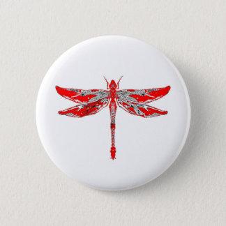 Badge Rond 5 Cm Libellule rouge