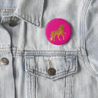 Badge Rond 5 Cm Licorne caracolante d'or magique dans la finition