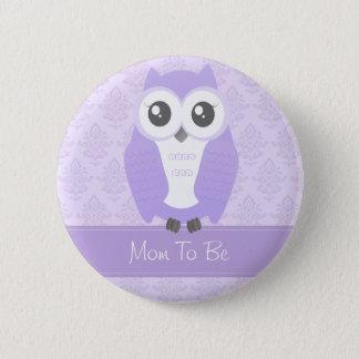 Badge Rond 5 Cm Lilas de bouton de baby shower de hibou