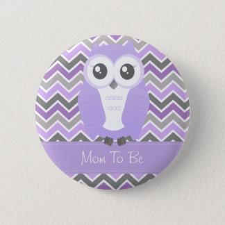 Badge Rond 5 Cm Lilas de Chevron de bouton de baby shower de hibou