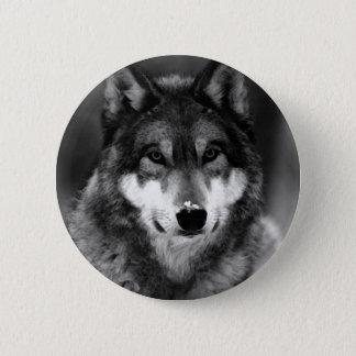 Badge Rond 5 Cm Loup noir et blanc