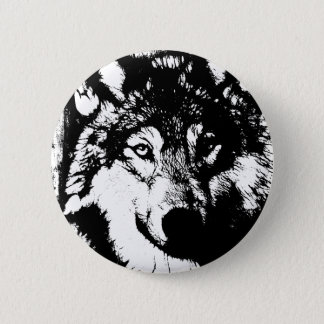 Badge Rond 5 Cm Loup solitaire