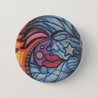 Badge Rond 5 Cm Lune bleue