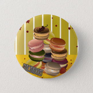 Badge Rond 5 Cm Macarons Vintage