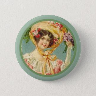 Badge Rond 5 Cm Madame victorienne vintage Pâques Bonnet