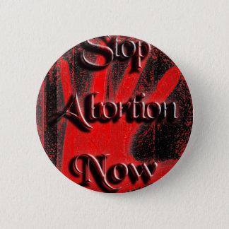 Badge Rond 5 Cm Main - arrêtez l'avortement maintenant