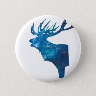 Badge Rond 5 Cm mâle principal de cerfs communs dans le bleu