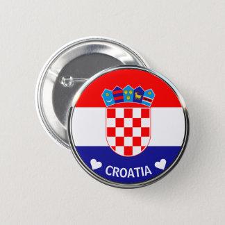 Badge Rond 5 Cm Manteau croate du grb w/Text des bras | Hrvatski
