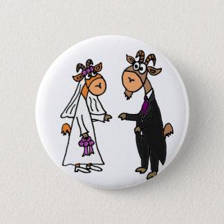 Badge Rond 5 Cm Mariage drôle de chèvre de jeunes mariés