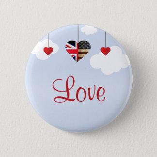 Badge Rond 5 Cm Mariage royal de coeurs américains britanniques