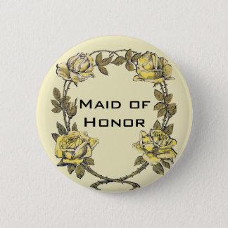 Badge Rond 5 Cm Mariage vintage, guirlande antique jaune de rose