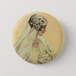 Badge Rond 5 Cm Mariage vintage, portrait nuptiale de jeune mariée