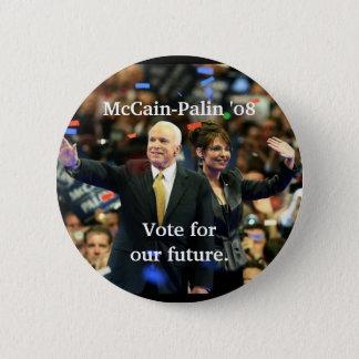 Badge Rond 5 Cm McCain-Palin '08, vote pour notre avenir