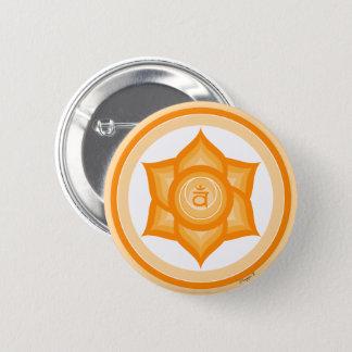 Badge Rond 5 Cm Méditation spirituelle sacrée orange de yoga de