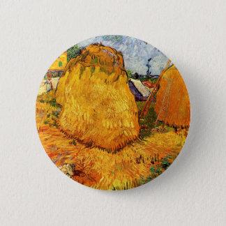 Badge Rond 5 Cm Meules de foin de Van Gogh en Provence, beaux-arts