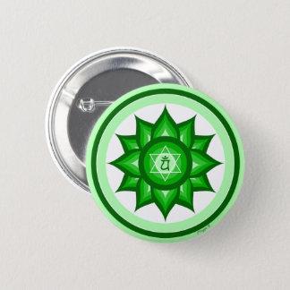 Badge Rond 5 Cm Mindfulness vert de méditation de yoga de Chakra