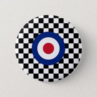 Badge Rond 5 Cm Mod de emballage noir Checkered de cible