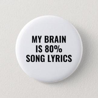 Badge Rond 5 Cm Mon cerveau est des textes de chanson de 80 pour