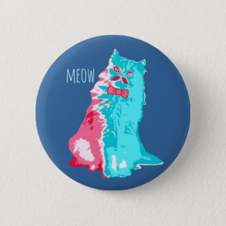 Badge Rond 5 Cm Moustache Kitty de Meow