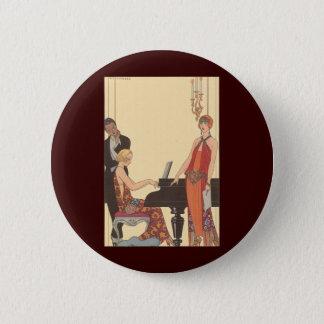 Badge Rond 5 Cm Musique vintage, chanteur de musicien de pianiste