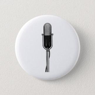 Badge Rond 5 Cm Musique vintage, vieux rétro microphone de