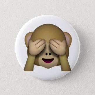 Badge Rond 5 Cm Ne voir l'aucun singe mauvais - Emoji