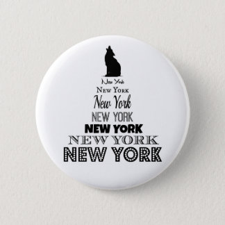 Badge Rond 5 Cm New York hurlant, coyote de chien, loup - amour NY