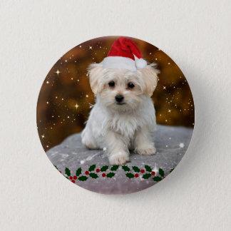 Badge Rond 5 Cm Noël maltais de chiot