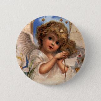 Badge Rond 5 Cm Noël vintage, ange victorien avec de l'or Bells